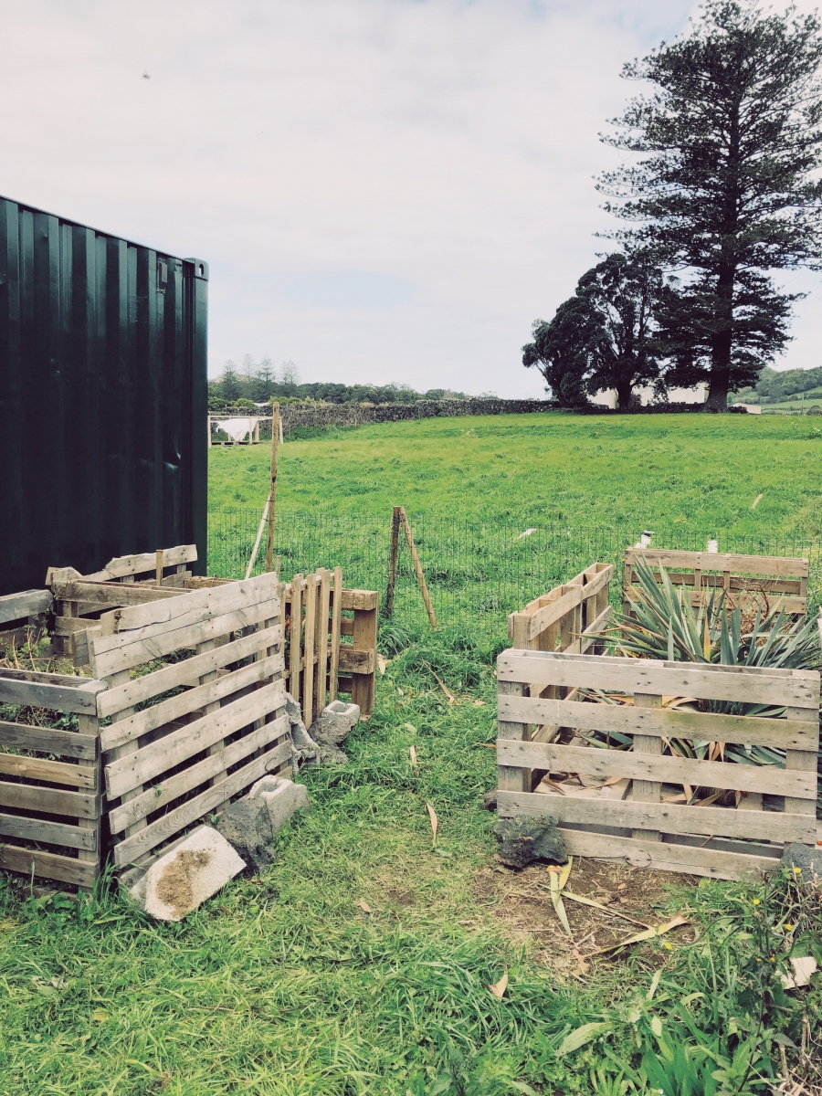 Compost bins built and ready to go
