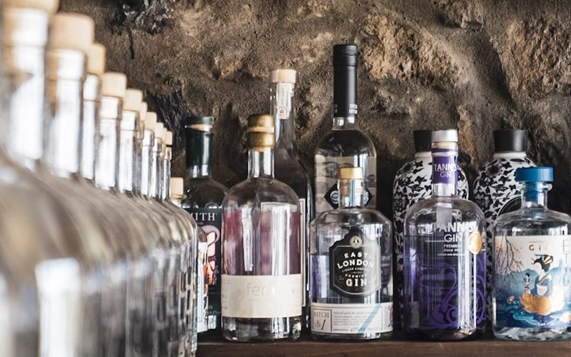 gin shelf at the gin library